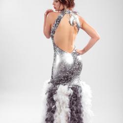 Robe couture Boas Argentée